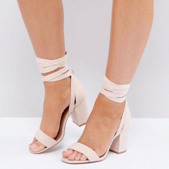 682d0e9c25 ASOS Shoes | Wide Fit Howling Tie Leg Heeled Sandals | Poshmark